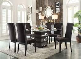homelegance havre dining set dark brown fabric chairs
