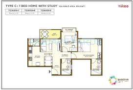 3 bhk 1917 sq ft apartment floor plan