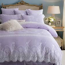 light purple lace embroidered bedding set princess romantic duvet cover bedding pillowcases coverlet queen king size