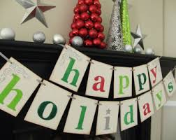 office holiday decor. holiday decorations happy holidays banner christmas sign garland chirtmas card photoprop office decor e