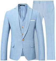 Mens Suits Slim <b>Stylish 3 Piece</b> Linen Suit Wedding Prom Blazer ...