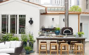 Best Outdoor Kitchen Designs Best Outdoor Kitchen Design With Stone Dining Table And Wooden