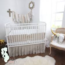 neutral tan white linen gender baby crib bedding set 15 with