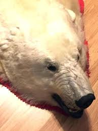 real polar bear rug suppliers and acturers at with head fake white teddy closed mouth black