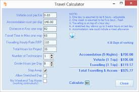 Trip Charge Calculator Nexial Software Travelling Calculator For Projects And Quotes