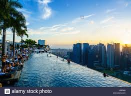 infinity pool singapore hotel. Infinity Pool On The Roof Of Marina Bay Sands Hotel With Spectacular Views Over Singapore Skyline At Sunset,