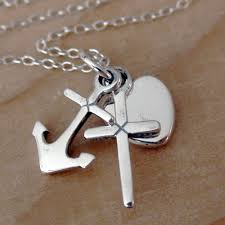 details about faith hope charity necklace 925 sterling silver heart cross anchor new