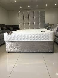 manhattan silver crushed velvet bed set double