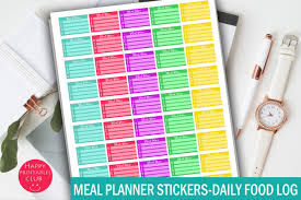Daily Food Planner Meal Planner Stickers Daily Food Log Stickers Meal Planning