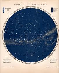 Southern Sky Star Chart Map Of The Southern Skies Celestial Print From 1903