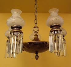 1920 pan style crystal chandelier glass shades large