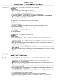 Information Technology Intern Job Description Information Technology Internship Resume Samples Velvet Jobs 2