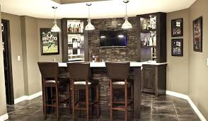 Home Bar Ideas Stone Stone Wet Bar In Basement With Flat Screen