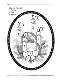 Small Picture Free color by number Advent Candles and Wreath This worksheet is