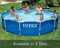 intex 12 x 30 metal frame pool with optional intex pool filter pump and accessories 56995 1 jpg