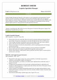 Logistics Management Resume Logistics Specialist Resume Samples Qwikresume