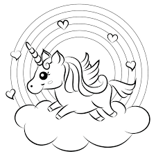 unicorn and rainbow coloring pages cute cartoon vector unicorn with rainbow coloring page stock vector
