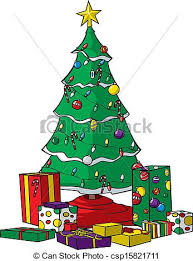 christmas tree with presents and lights clip art. Christmas Tree With Presents And Lights Clip Art