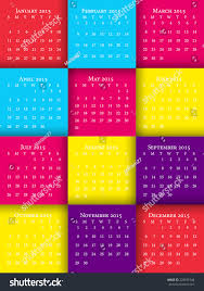 Calendar Format 2015 Vector Illustration 2015 Calendar Template Sunday Stock