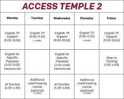 Sample Of Schedules Access Temple Sample Schedules Center For American
