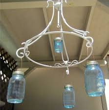 vintage style diy glass chandelier with round white frame metal and blue mason jar idea