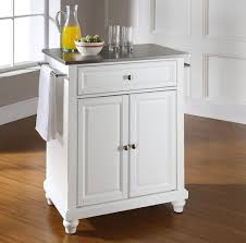Kitchen: White Portable Kitchen Island With Stainless Countertops - Portable  Islands For Kitchens