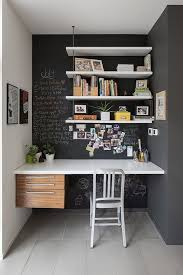 office space storage. Hidden Office Space With Built In Table And Blackboard Wall Desin Feat White Shelves Storage