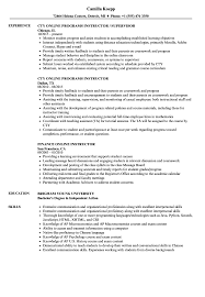 Online Instructor Resume Samples Velvet Jobs Examples And S