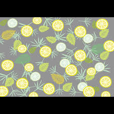 爽やかな葉っぱとレモンとライムのイラストデザイン素材背景