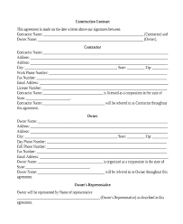 Simple Contractor Agreement Template Construction Contract Agreement Template