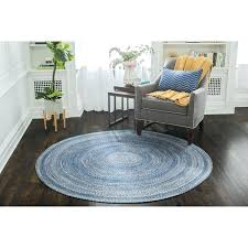 blue round braided jute rug 4 black 4x6