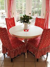 country ikea white round table with beautiful red fl upholstered chairs surrounding set after french doors
