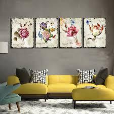 4 pieces classic floral wall art canvas prints flower combination flower wall art canvas on flower wall art prints with floral delight purple flower canvas wall art set super tech