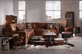 square arm brown leather corner sofa