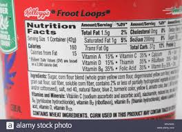 nutrition facts for sugary cereal stock photo 11 alamy fruit loops nutrition facts