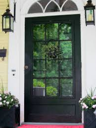 black glass front door. Furniture. Single Glass Front Door With Black Wooden Frames Added By Double Metal Wall R