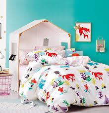 com cliab rac bear fox woodland forest animals children and kids boys girls bedding set full duvet cover set 100 cotton 7 pieces home
