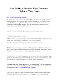 how to do a business plan template achieve your goals