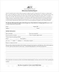 Basic Incident Report Template Behavior Incident Report Template 15 Free Pdf Format Download