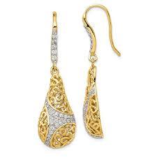 925 sterling silver gold plated cubic zirconia cz teardrop drop dangle chandelier earrings fine jewelry for women gift set