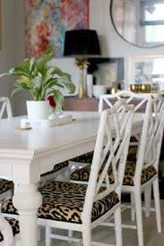 dining room with faux bamboo chairs and leopard print seats bamboo chairs dining room chairs