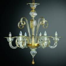 goldoni 6 lights murano chandelier transpa gold color