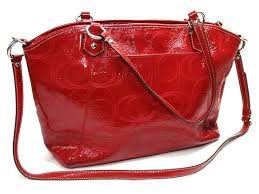 coach 2way shoulder bag patent leather red 19197