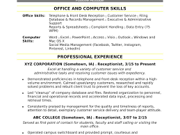 Computer Skills To List On Resume Resume Template Receptionist Some Computers List Section Examples 29