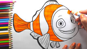 fish drawing for colouring. Fine Drawing Clown Fish Example Simple Drawing For Children  Colouring Videos Kids On For