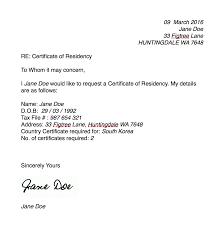 Certificate Of Residency Millicent Lambert