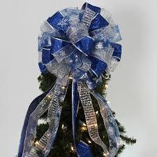 Royal Blue Silver Snowflake Christmas Tree Topper Bow Mantel Wreath  Decorations