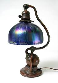 studios new york favrile glass and patinated bronze counterbalance desk lamp