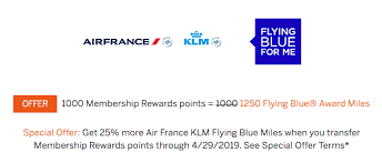 Air France Flying Blue Award Chart Transfer Amex Points To Air France Klm With A 25 Bonus
