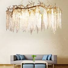 american villa living room crystal leaf chandelier lighting